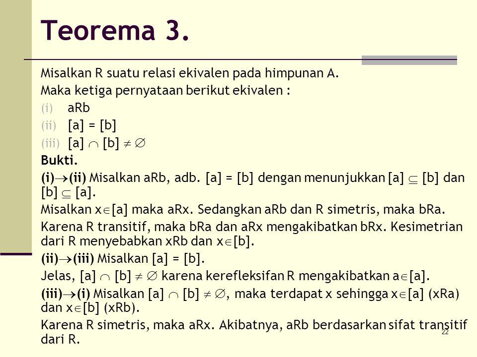22 Teorema 3. Misalkan R suatu relasi ekivalen pada himpunan A. Maka ketiga pernyataan berikut ekivalen : (i) aRb (ii) [a] = [b] (iii) [a]  [b]   B