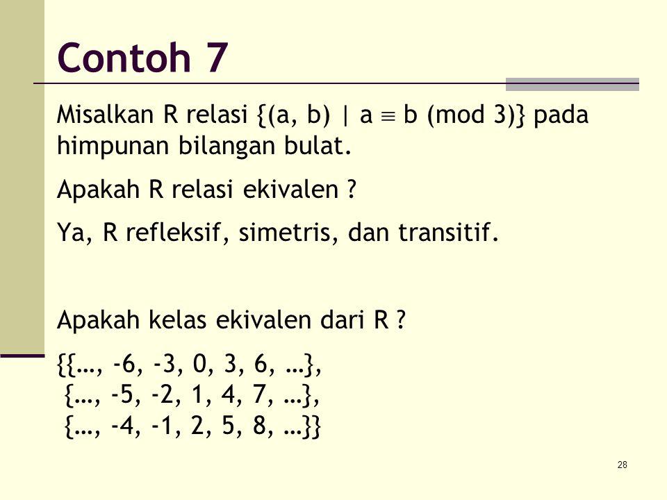 28 Misalkan R relasi {(a, b) | a  b (mod 3)} pada himpunan bilangan bulat. Apakah R relasi ekivalen ? Ya, R refleksif, simetris, dan transitif. Apaka