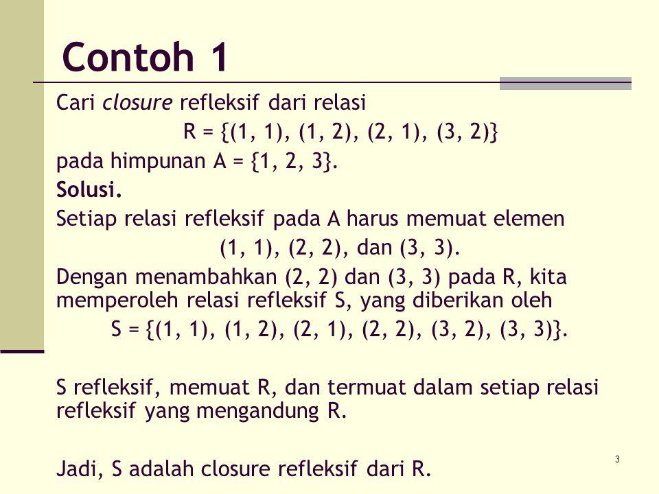 14 Misalkan R relasi pada himpunan A dengan n anggota, Maka closure transitif R* diberikan oleh: R* = R  R 2  R 3  …  R n Untuk matriks representasi relasi R, M R, berlaku: M R* = M R  M R [2]  M R [3]  …  M R [n] Teorema 2