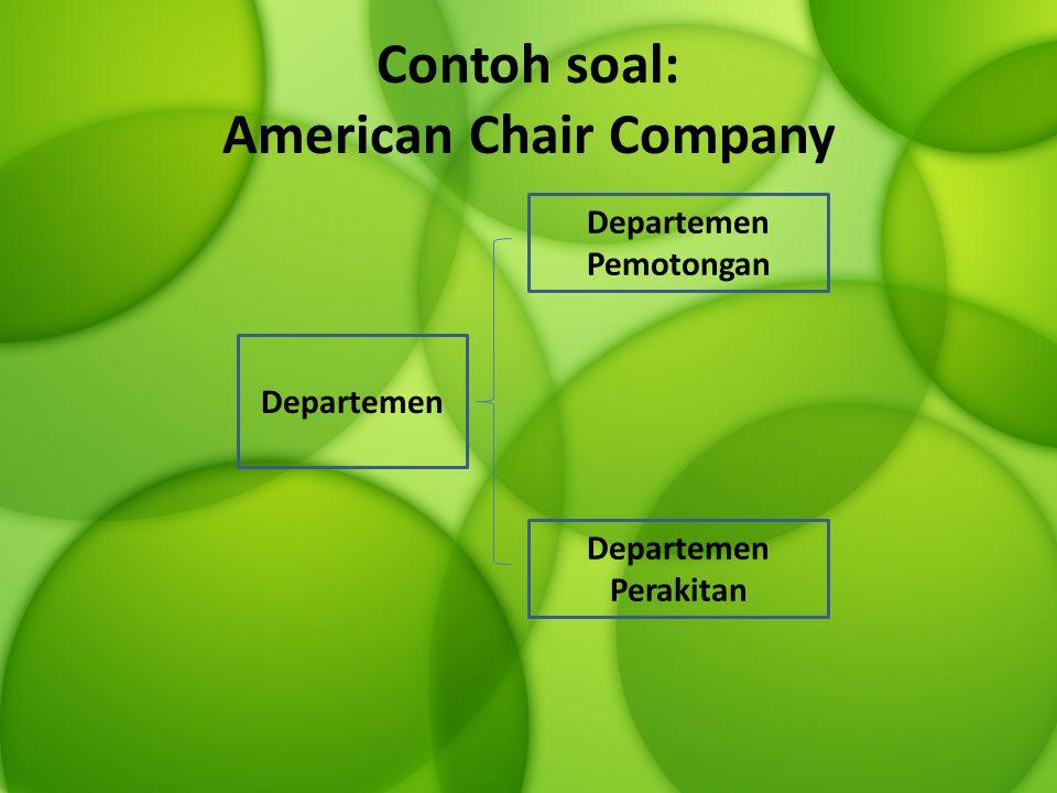 Contoh soal: American Chair Company Departemen Departemen Pemotongan Departemen Perakitan