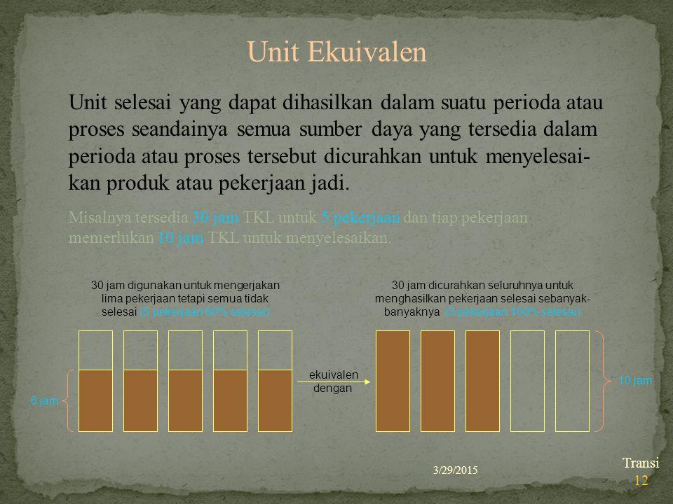 3/29/2015 Transi 12 Unit Ekuivalen Unit selesai yang dapat dihasilkan dalam suatu perioda atau proses seandainya semua sumber daya yang tersedia dalam