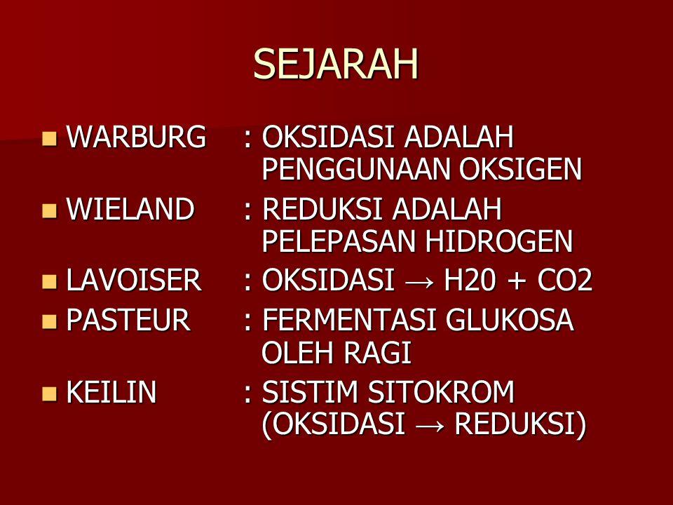 SEJARAH WARBURG: OKSIDASI ADALAH PENGGUNAAN OKSIGEN WARBURG: OKSIDASI ADALAH PENGGUNAAN OKSIGEN WIELAND: REDUKSI ADALAH PELEPASAN HIDROGEN WIELAND: RE