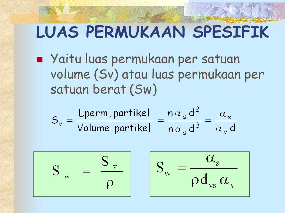 LUAS PERMUKAAN SPESIFIK Yaitu luas permukaan per satuan volume (Sv) atau luas permukaan per satuan berat (Sw)