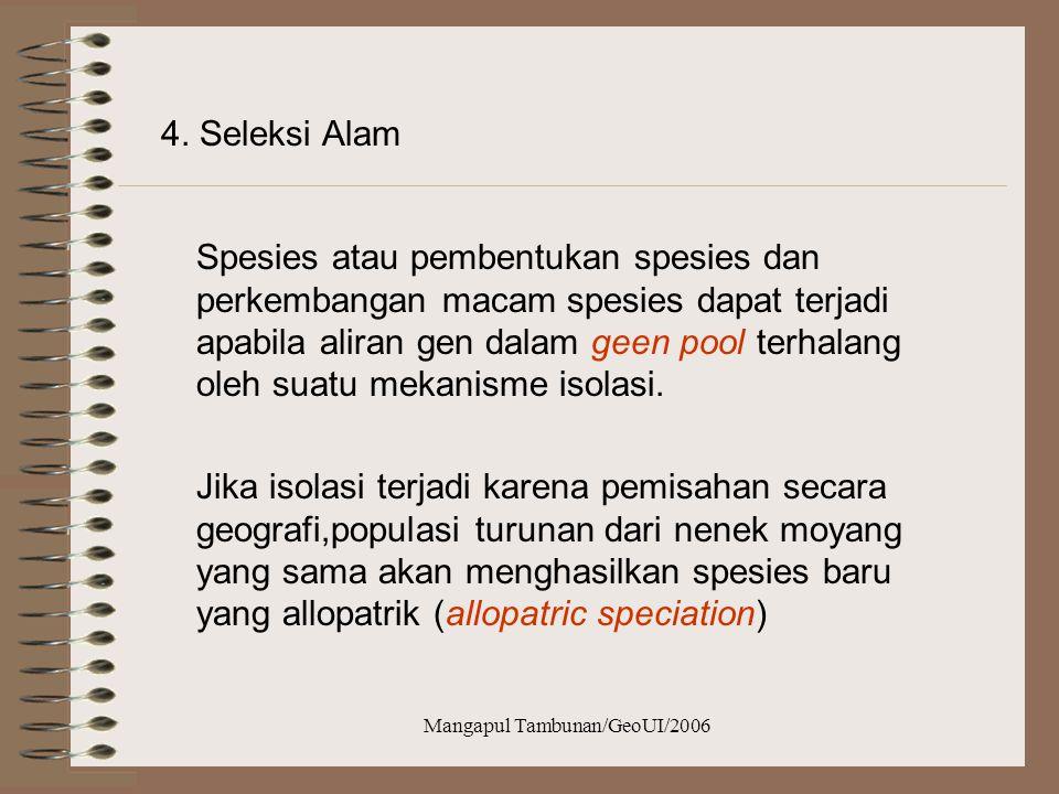 Mangapul Tambunan/GeoUI/2006 3. Penggantian Sifat (Character Displacement) Allopatric ialah spesies yang terdapat pada daerah geografis yang tidak sam
