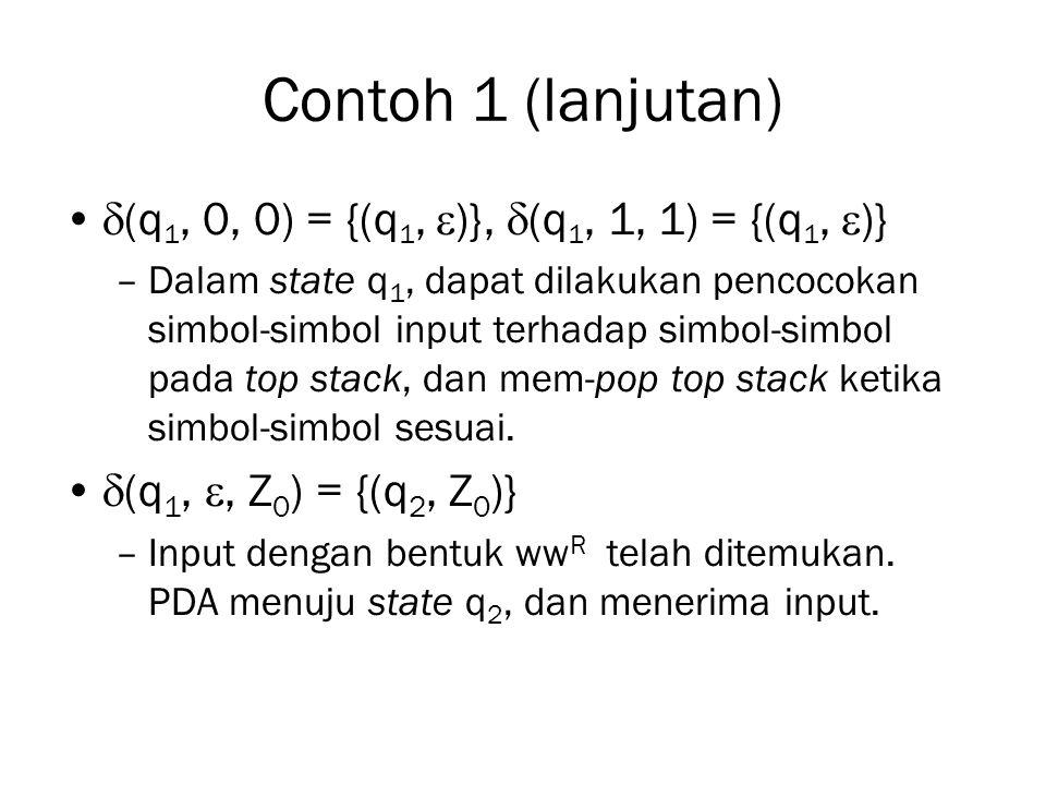 Contoh 1 (lanjutan)  (q 1, 0, 0) = {(q 1,  )},  (q 1, 1, 1) = {(q 1,  )} –Dalam state q 1, dapat dilakukan pencocokan simbol-simbol input terhadap