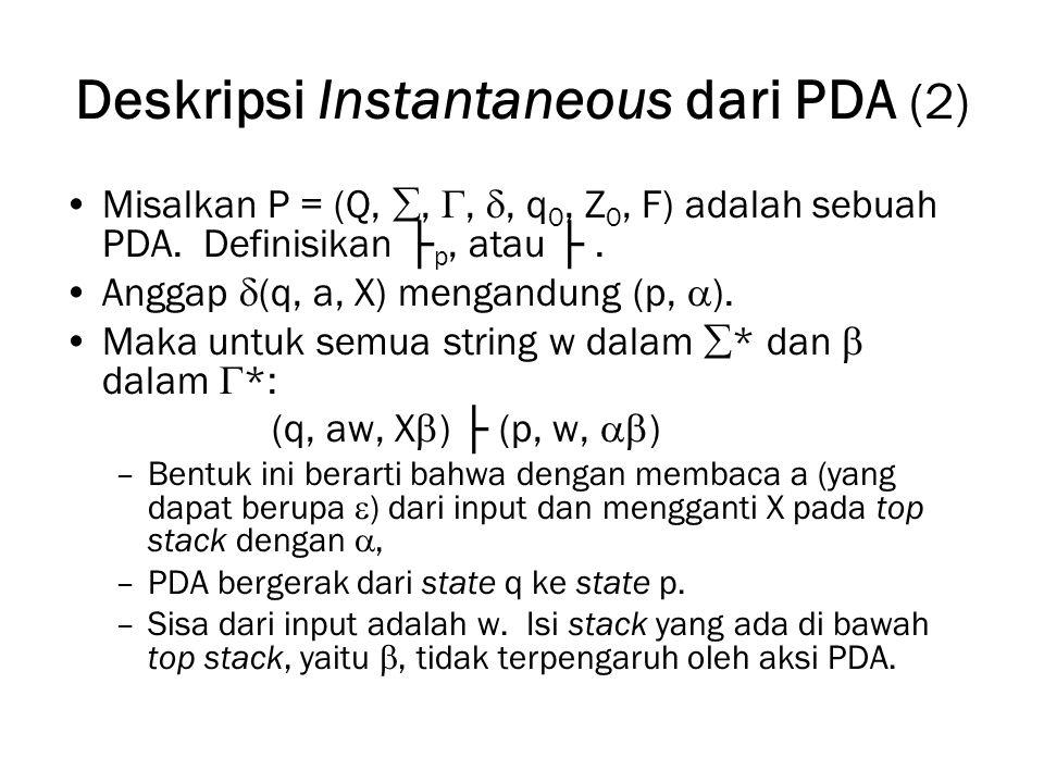 Deskripsi Instantaneous dari PDA (2) Misalkan P = (Q, , , , q 0, Z 0, F) adalah sebuah PDA. Definisikan ├ p, atau ├. Anggap  (q, a, X) mengandung
