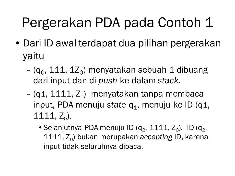 Pergerakan PDA pada Contoh 1 Dari ID awal terdapat dua pilihan pergerakan yaitu –(q 0, 111, 1Z 0 ) menyatakan sebuah 1 dibuang dari input dan di-push
