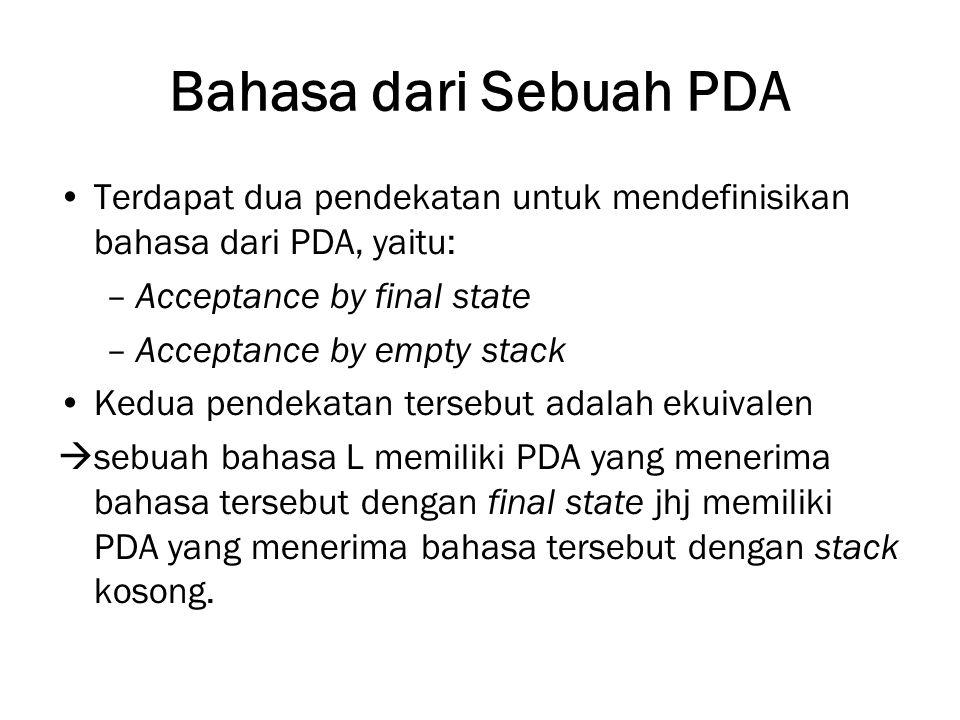 Bahasa dari Sebuah PDA Terdapat dua pendekatan untuk mendefinisikan bahasa dari PDA, yaitu: –Acceptance by final state –Acceptance by empty stack Kedu