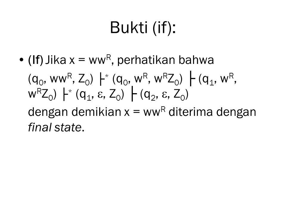 Bukti (if): (If) Jika x = ww R, perhatikan bahwa (q 0, ww R, Z 0 ) ├ * (q 0, w R, w R Z 0 ) ├ (q 1, w R, w R Z 0 ) ├ * (q 1, , Z 0 ) ├ (q 2, , Z 0 )