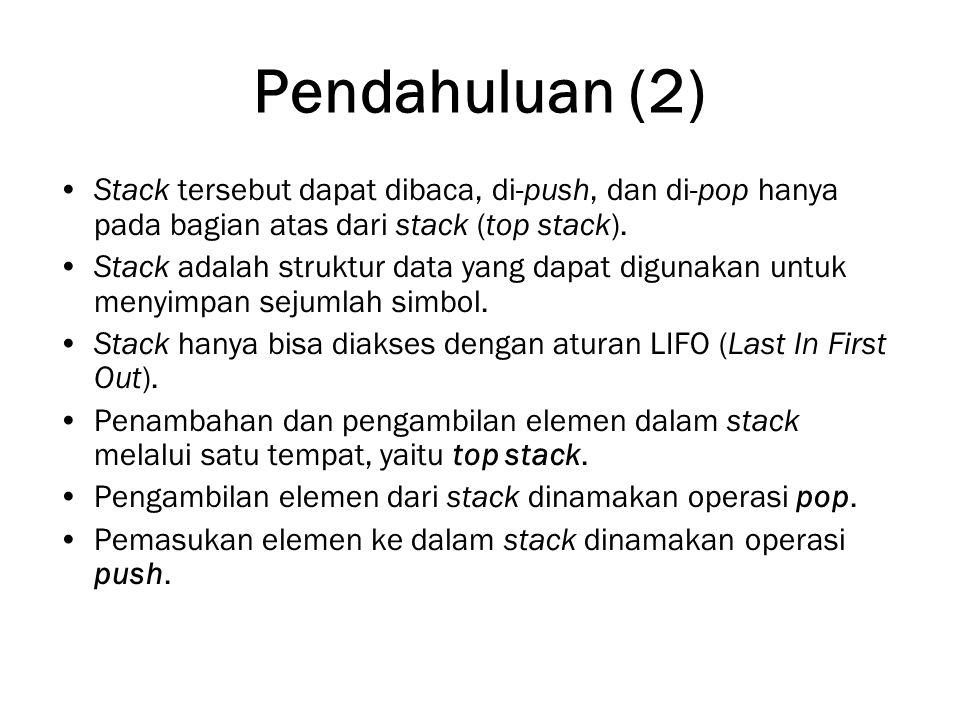 Pendahuluan (2) Stack tersebut dapat dibaca, di-push, dan di-pop hanya pada bagian atas dari stack (top stack). Stack adalah struktur data yang dapat