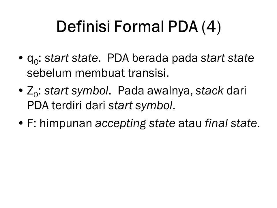 Definisi Formal PDA (4) q 0 : start state. PDA berada pada start state sebelum membuat transisi. Z 0 : start symbol. Pada awalnya, stack dari PDA terd