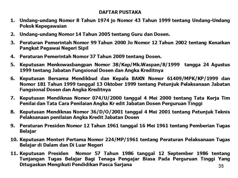 35 DAFTAR PUSTAKA 1.Undang-undang Nomor 8 Tahun 1974 jo Nomor 43 Tahun 1999 tentang Undang-Undang Pokok Kepegawaian 2.Undang-undang Nomor 14 Tahun 2005 tentang Guru dan Dosen.