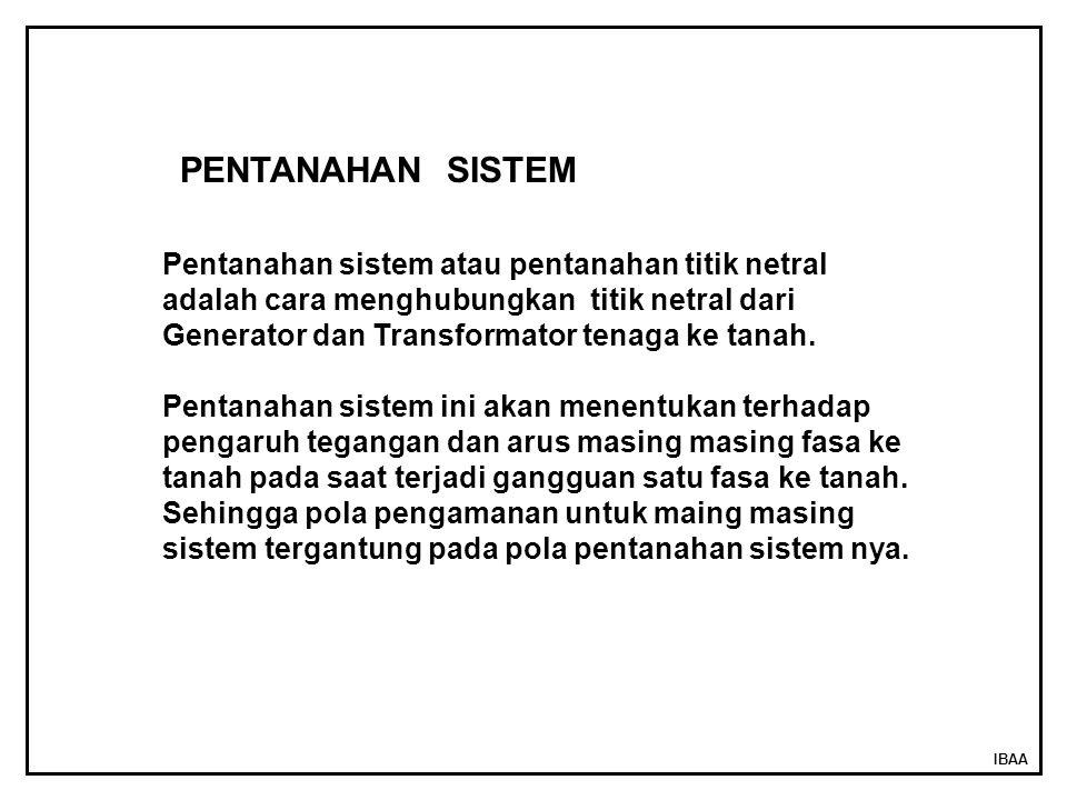 PENTANAHAN SISTEM Pentanahan sistem atau pentanahan titik netral adalah cara menghubungkan titik netral dari Generator dan Transformator tenaga ke tanah.