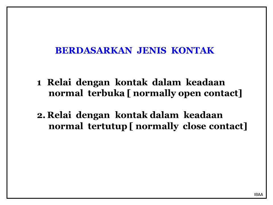 IBAA BERDASARKAN JENIS KONTAK 1Relai dengan kontak dalam keadaan normal terbuka [ normally open contact] 2.Relai dengan kontak dalam keadaan normal tertutup [ normally close contact]