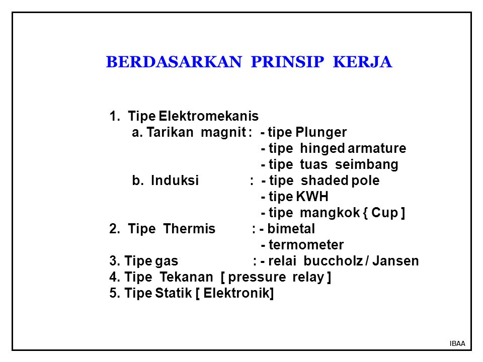 IBAA 1.Tipe Elektromekanis a.