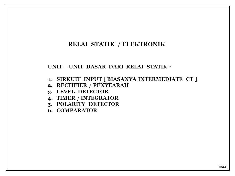 IBAA UNIT – UNIT DASAR DARI RELAI STATIK : 1.SIRKUIT INPUT [ BIASANYA INTERMEDIATE CT ] 2.RECTIFIER / PENYEARAH 3.LEVEL DETECTOR 4.TIMER / INTEGRATOR 5.POLARITY DETECTOR 6.COMPARATOR RELAI STATIK / ELEKTRONIK