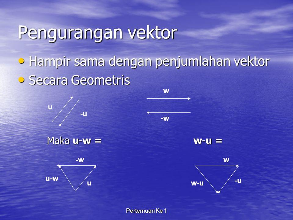 Pertemuan Ke 1 Pengurangan vektor Hampir sama dengan penjumlahan vektor Hampir sama dengan penjumlahan vektor Secara Geometris Secara Geometris Maka u-w =w-u = u u-w -w u -u w -w -u w w-u
