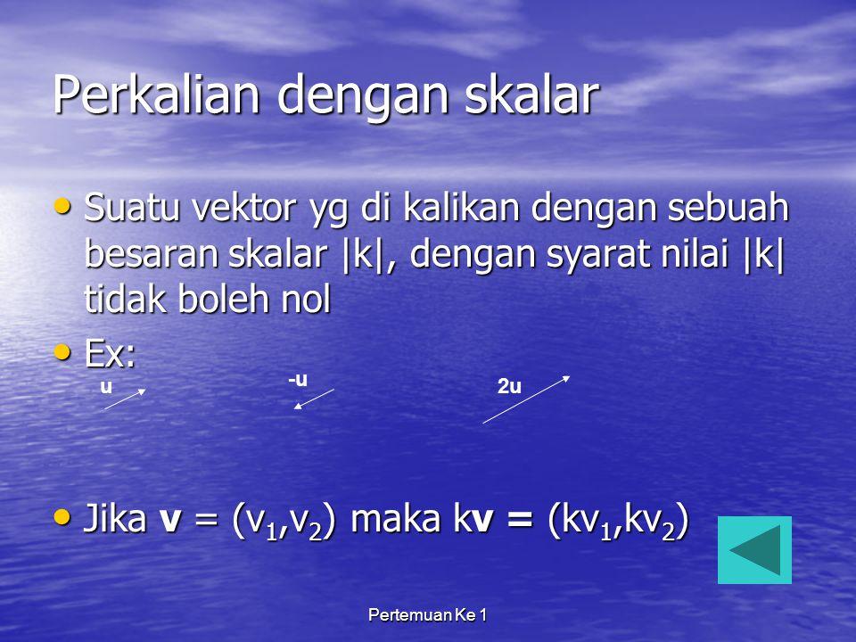 Pertemuan Ke 1 Perkalian dengan skalar Suatu vektor yg di kalikan dengan sebuah besaran skalar  k , dengan syarat nilai  k  tidak boleh nol Suatu vektor yg di kalikan dengan sebuah besaran skalar  k , dengan syarat nilai  k  tidak boleh nol Ex: Ex: Jika v = (v 1,v 2 ) maka kv = (kv 1,kv 2 ) Jika v = (v 1,v 2 ) maka kv = (kv 1,kv 2 ) u -u 2u