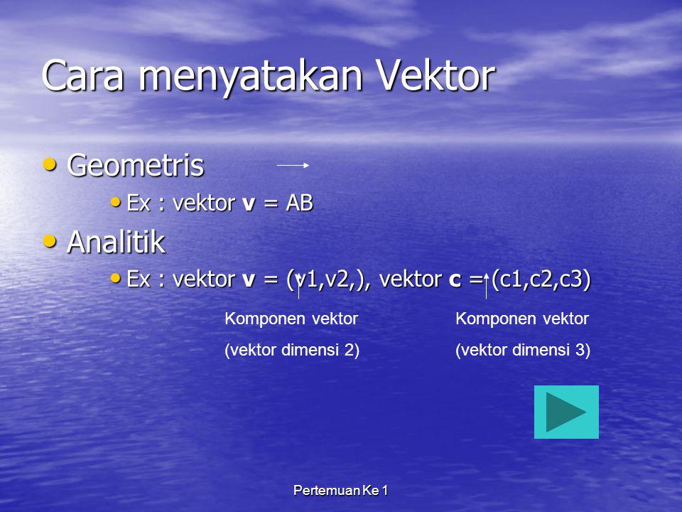 Pertemuan Ke 1 Cara menyatakan Vektor Geometris Geometris Ex : vektor v = AB Ex : vektor v = AB Analitik Analitik Ex : vektor v = (v1,v2,), vektor c = (c1,c2,c3) Ex : vektor v = (v1,v2,), vektor c = (c1,c2,c3) Komponen vektor (vektor dimensi 2) Komponen vektor (vektor dimensi 3)