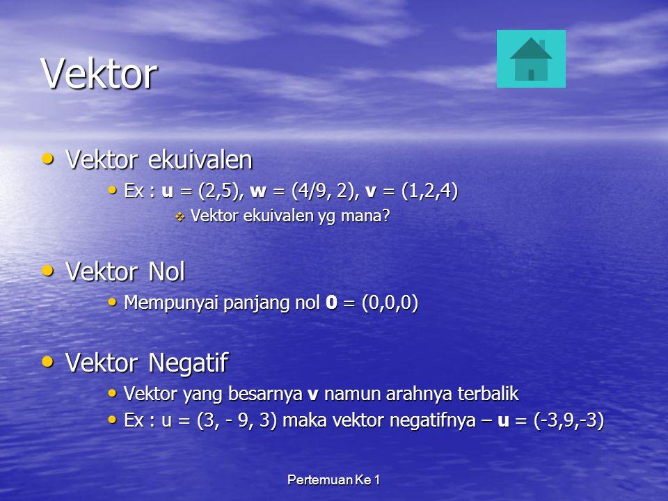 Pertemuan Ke 1 Vektor Vektor ekuivalen Vektor ekuivalen Ex : u = (2,5), w = (4/9, 2), v = (1,2,4) Ex : u = (2,5), w = (4/9, 2), v = (1,2,4)  Vektor ekuivalen yg mana.