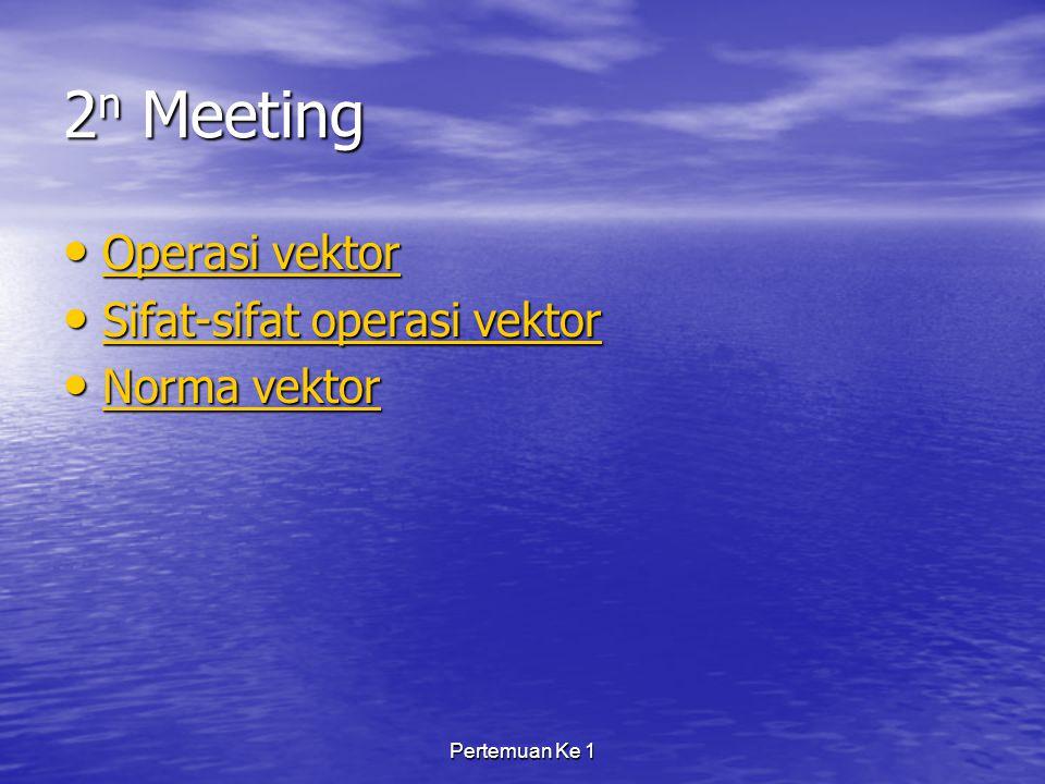 Pertemuan Ke 1 2 n Meeting Operasi vektor Operasi vektor Operasi vektor Operasi vektor Sifat-sifat operasi vektor Sifat-sifat operasi vektor Sifat-sifat operasi vektor Sifat-sifat operasi vektor Norma vektor Norma vektor Norma vektor Norma vektor