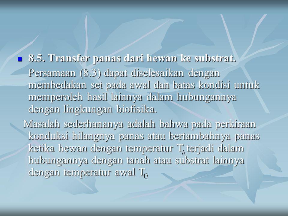 8.5. Transfer panas dari hewan ke substrat. 8.5. Transfer panas dari hewan ke substrat. Persamaan (8.3) dapat diselesaikan dengan membedakan set pada