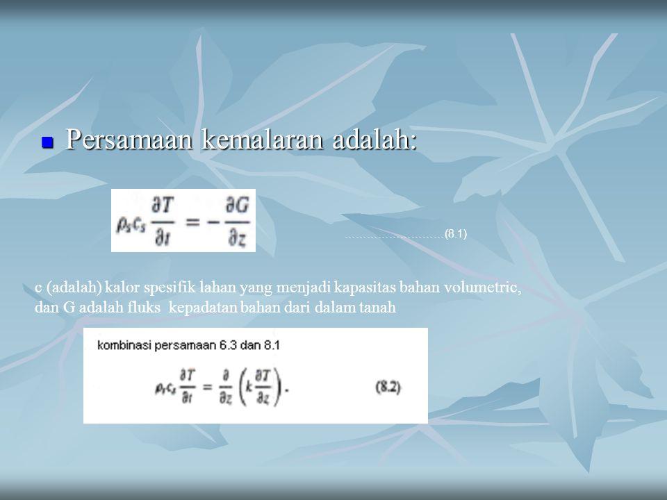 Persamaan kemalaran adalah: Persamaan kemalaran adalah: ………………………(8.1) c (adalah) kalor spesifik lahan yang menjadi kapasitas bahan volumetric, dan G