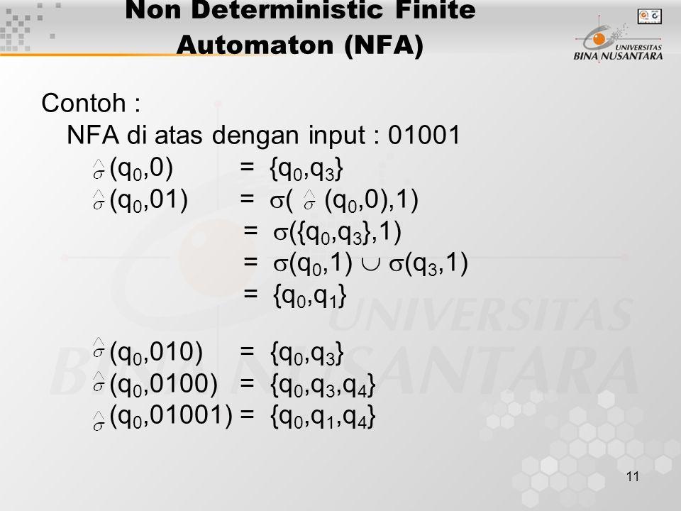 12 KONVERSI NFA MENJADI DFA Theorem : Bila L adalah L(M) untuk suatu NFA, maka L diterima suatu DFA.