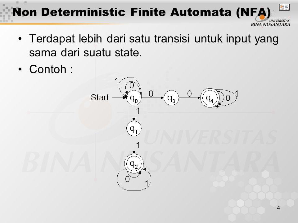 5 Non Deterministic Finite Automaton (NFA) String w diterima : Bila ada suatu path berlabel w dari start state ke salah satu final state, maka w diterima.