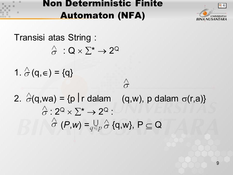 10 Non Deterministic Finite Automaton (NFA) Catatan : untuk input w = a (q,a) =  (q,a) Language Accepted / diterima : NFA M = (Q, , , q 0, F), L (M) = {w  (q 0,w)  F}