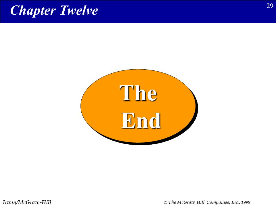 Irwin/McGraw-Hill © The McGraw-Hill Companies, Inc., 1999 29The End EndThe Chapter Twelve