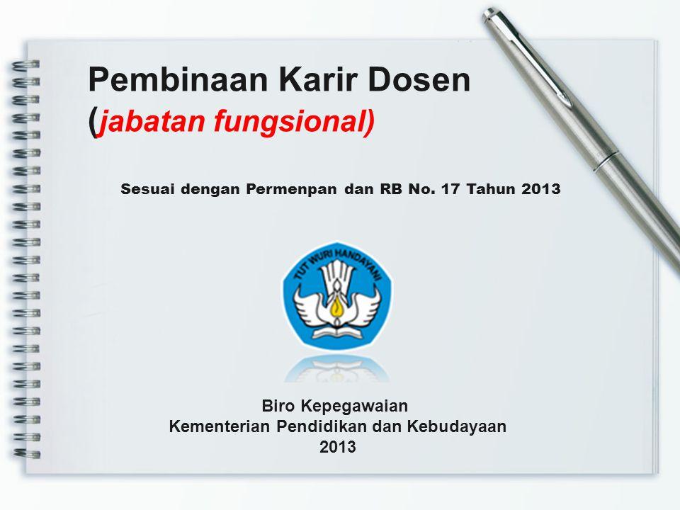 Sesuai dengan Permenpan dan RB No. 17 Tahun 2013 Pembinaan Karir Dosen ( jabatan fungsional) Biro Kepegawaian Kementerian Pendidikan dan Kebudayaan 20
