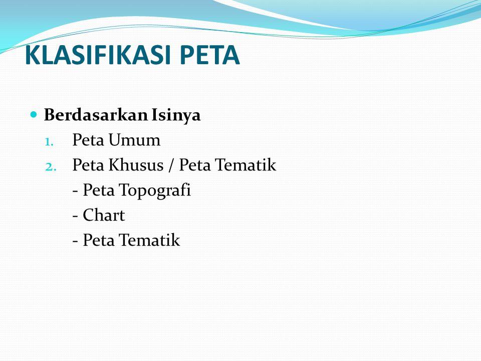 KLASIFIKASI PETA Berdasarkan Isinya 1.Peta Umum 2.
