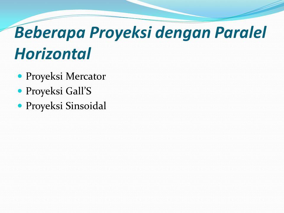 Beberapa Proyeksi dengan Paralel Horizontal Proyeksi Mercator Proyeksi Gall'S Proyeksi Sinsoidal