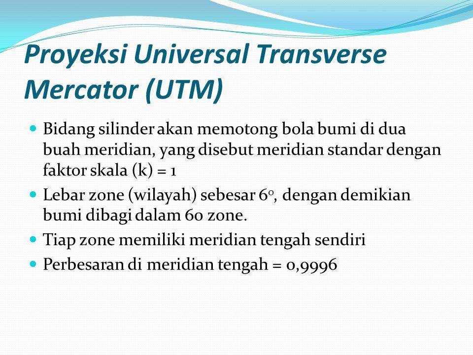Proyeksi Universal Transverse Mercator (UTM) Bidang silinder akan memotong bola bumi di dua buah meridian, yang disebut meridian standar dengan faktor skala (k) = 1 Lebar zone (wilayah) sebesar 6 o, dengan demikian bumi dibagi dalam 60 zone.