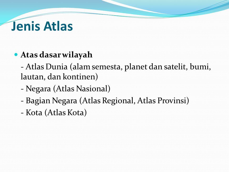 Jenis Atlas Atas dasar wilayah - Atlas Dunia (alam semesta, planet dan satelit, bumi, lautan, dan kontinen) - Negara (Atlas Nasional) - Bagian Negara (Atlas Regional, Atlas Provinsi) - Kota (Atlas Kota)