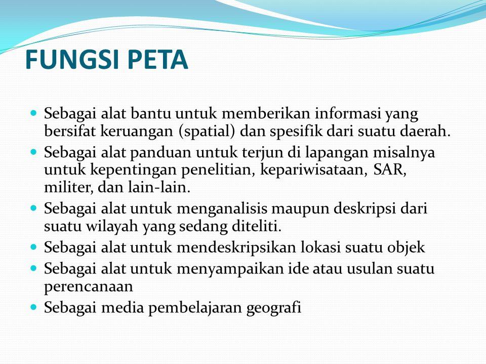 FUNGSI PETA Sebagai alat bantu untuk memberikan informasi yang bersifat keruangan (spatial) dan spesifik dari suatu daerah.