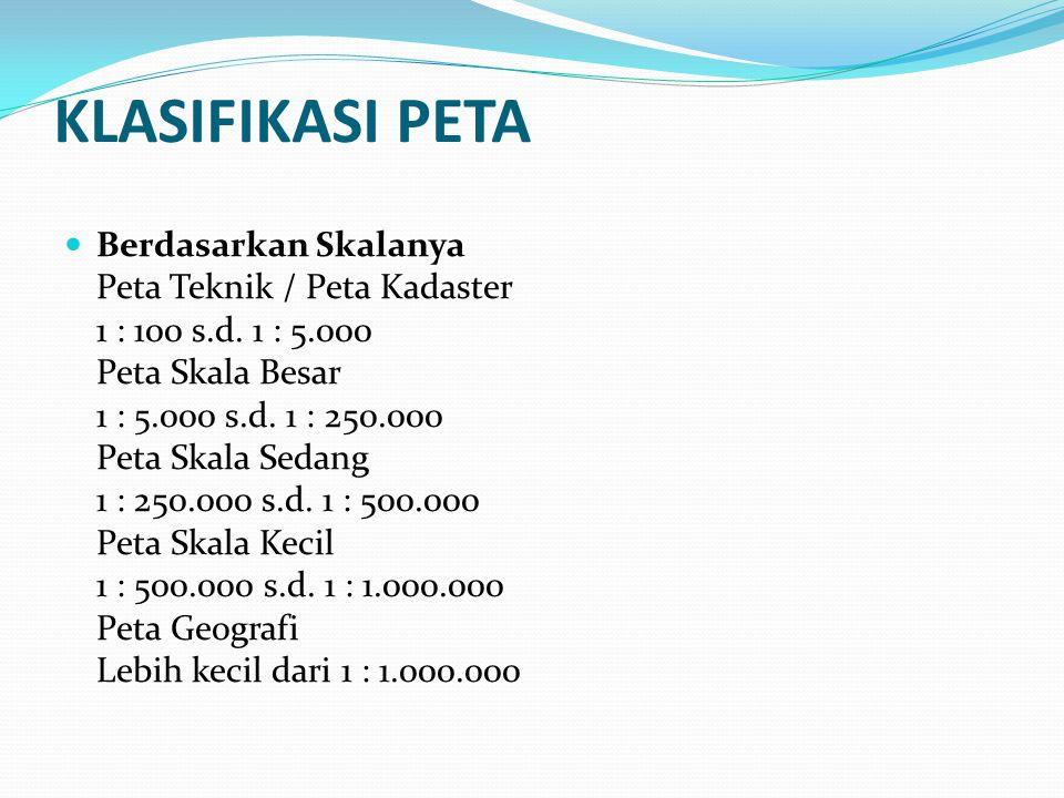 KLASIFIKASI PETA Berdasarkan Skalanya Peta Teknik / Peta Kadaster 1 : 100 s.d.