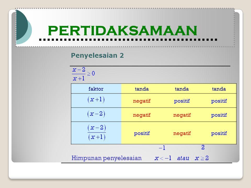 Penyelesaian 2 Modul Pembelajaran Matematika Kelas X semester 1 PERTIDAKSAMAAN Modul Pembelajaran Matematika Kelas X semester 1 PERTIDAKSAMAAN faktortanda negatifpositif negatif positif negatifpositif Himpunan penyelesaian 11 2