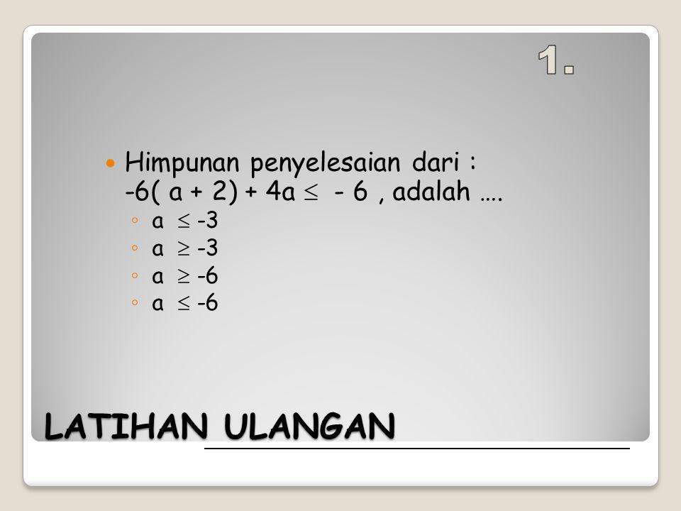LATIHAN ULANGAN Himpunan penyelesaian dari : -6( a + 2) + 4a  - 6, adalah …. ◦ a  -3 ◦ a  ◦ a  -6 ◦ a 