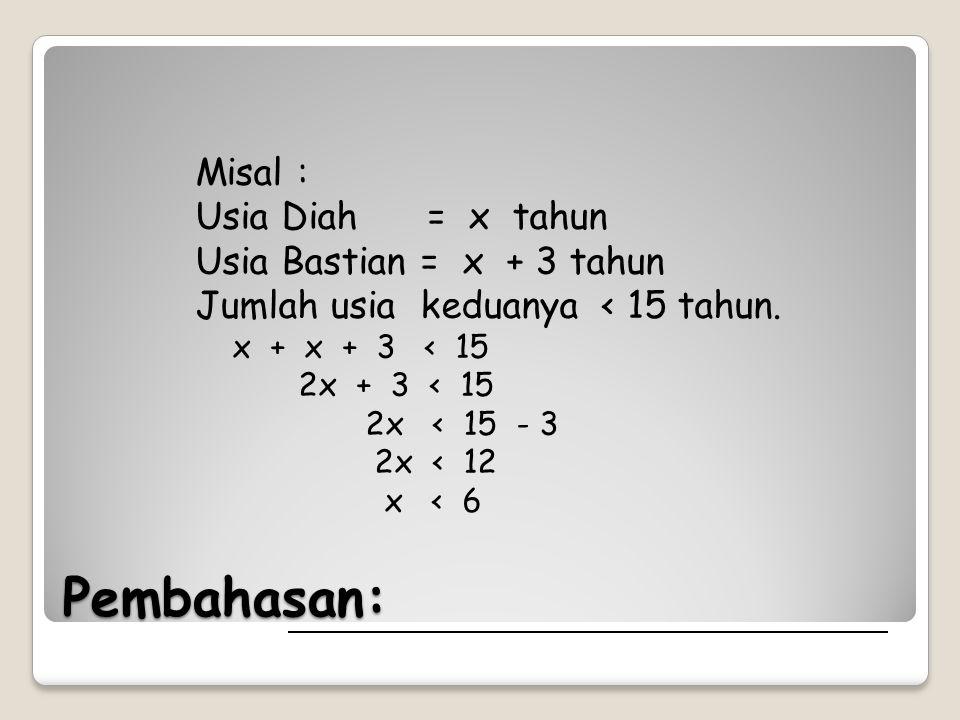 Pembahasan: Misal : Usia Diah = x tahun Usia Bastian = x + 3 tahun Jumlah usia keduanya < 15 tahun. x + x + 3 < 15 2x + 3 < 15 2x < 15 - 3 2x < 12 x <