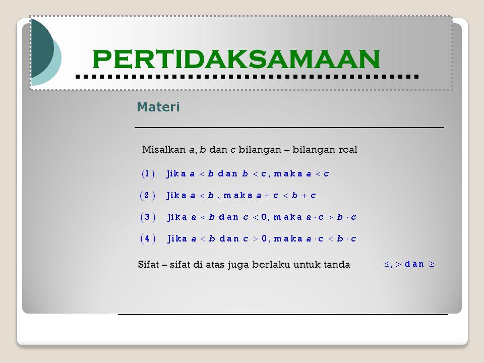 Materi Modul Pembelajaran Matematika Kelas X semester 1 PERTIDAKSAMAAN Modul Pembelajaran Matematika Kelas X semester 1 PERTIDAKSAMAAN Misalkan a, b dan c bilangan – bilangan real Sifat – sifat di atas juga berlaku untuk tanda