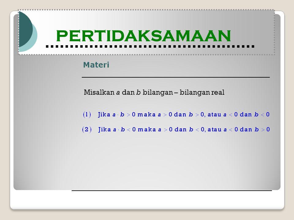 Materi Modul Pembelajaran Matematika Kelas X semester 1 PERTIDAKSAMAAN Modul Pembelajaran Matematika Kelas X semester 1 PERTIDAKSAMAAN Misalkan a dan b bilangan – bilangan real