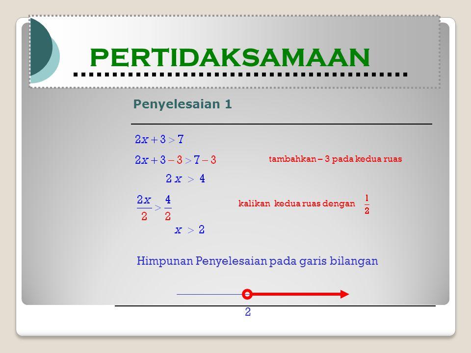 Penyelesaian 1 Modul Pembelajaran Matematika Kelas X semester 1 PERTIDAKSAMAAN Modul Pembelajaran Matematika Kelas X semester 1 PERTIDAKSAMAAN tambahkan – 3 pada kedua ruas Himpunan Penyelesaian pada garis bilangan kalikan kedua ruas dengan 2