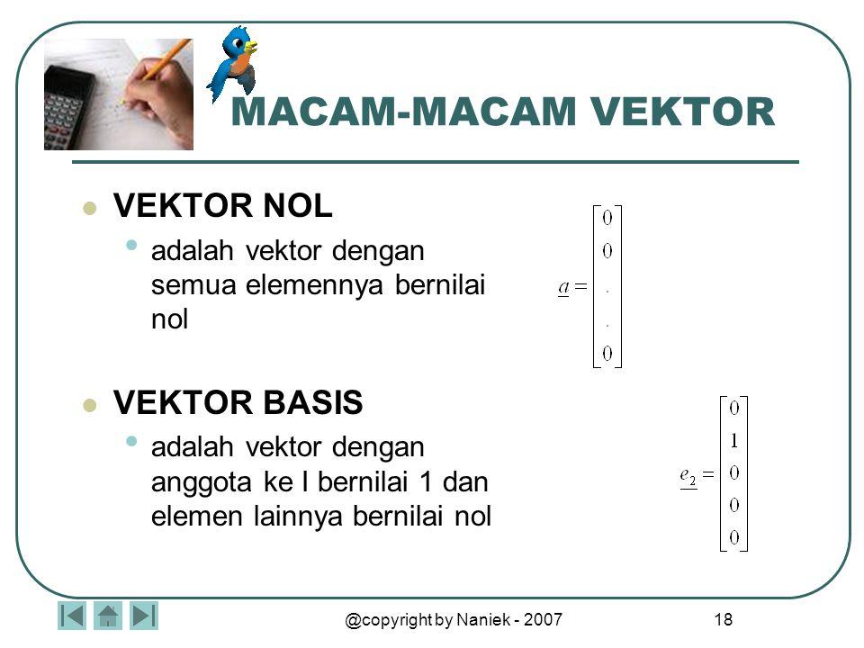@copyright by Naniek - 2007 17 MACAM-MACAM VEKTOR Vektor adalah larik berdimensi satu Vektor a dengan cacah n elemen ditulis : biasa disebut vektor ko