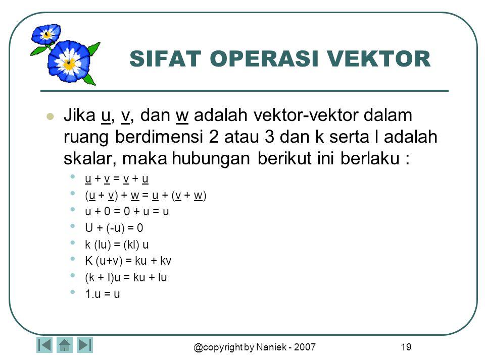 @copyright by Naniek - 2007 18 MACAM-MACAM VEKTOR VEKTOR NOL adalah vektor dengan semua elemennya bernilai nol VEKTOR BASIS adalah vektor dengan anggo