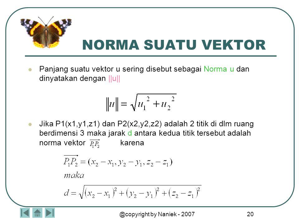 @copyright by Naniek - 2007 19 SIFAT OPERASI VEKTOR Jika u, v, dan w adalah vektor-vektor dalam ruang berdimensi 2 atau 3 dan k serta l adalah skalar,