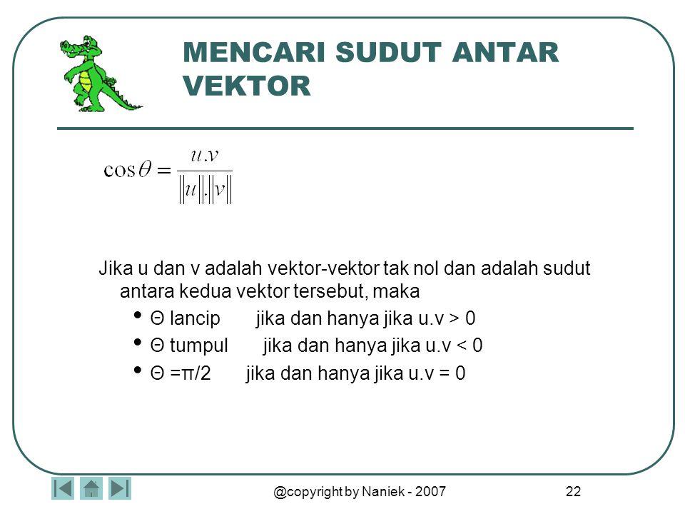 @copyright by Naniek - 2007 21 HASIL KALI TITIK Jika u, v, dan w adalah vektor-vektor dalam ruang berdimensi 2 atau 3 dan θ adalah sudut antara u dan