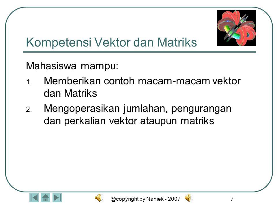 @copyright by Naniek - 200727 MACAM-MACAM MATRIKS Matriks Nol –Adalah matriks dengan semua elemennya bernilai nol.