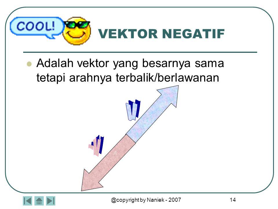 @copyright by Naniek - 2007 14 VEKTOR NEGATIF Adalah vektor yang besarnya sama tetapi arahnya terbalik/berlawanan